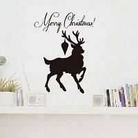 DSU Xmas Black Deer С Новым годом Наклейка для наклейки наклейки на дом для детей 58 x 77 см