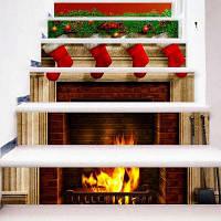 Рождественские зеленые листья Красный носок подарки Лестницы наклейки ПВХ Полноцветная плита Огненные лестничные наклейки 18 x 100 x 6 см