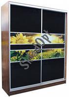 ШКАФ-КУПЕ двухдверный с комбинированным фасадом №3 из цветного стекла + УФ печать