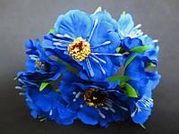 Декоративные цветы дикого мака d 4.5-5 см, 6 шт/уп, синего цвета
