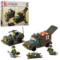 Конструктор SLUBAN M38-B6000, армия, военные машины, фигурки, 229дет, в кор-ке, 33-24-5, 5см
