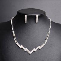 Горный хрусталь Зиг заг ожерелье и серьги набор Серебристый