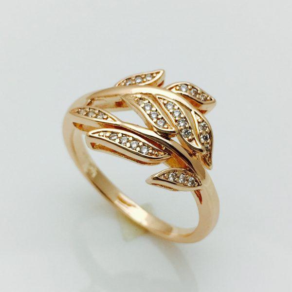 Кольцо Богатые листья позолота 18К , размер 17, 18,  20, 21