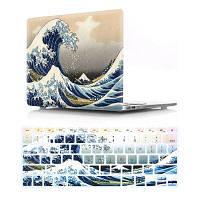 Компьютерная оболочка для ноутбука с клавиатурой для MacBook Pro 15,4-дюймовые -3D морские волны Синий
