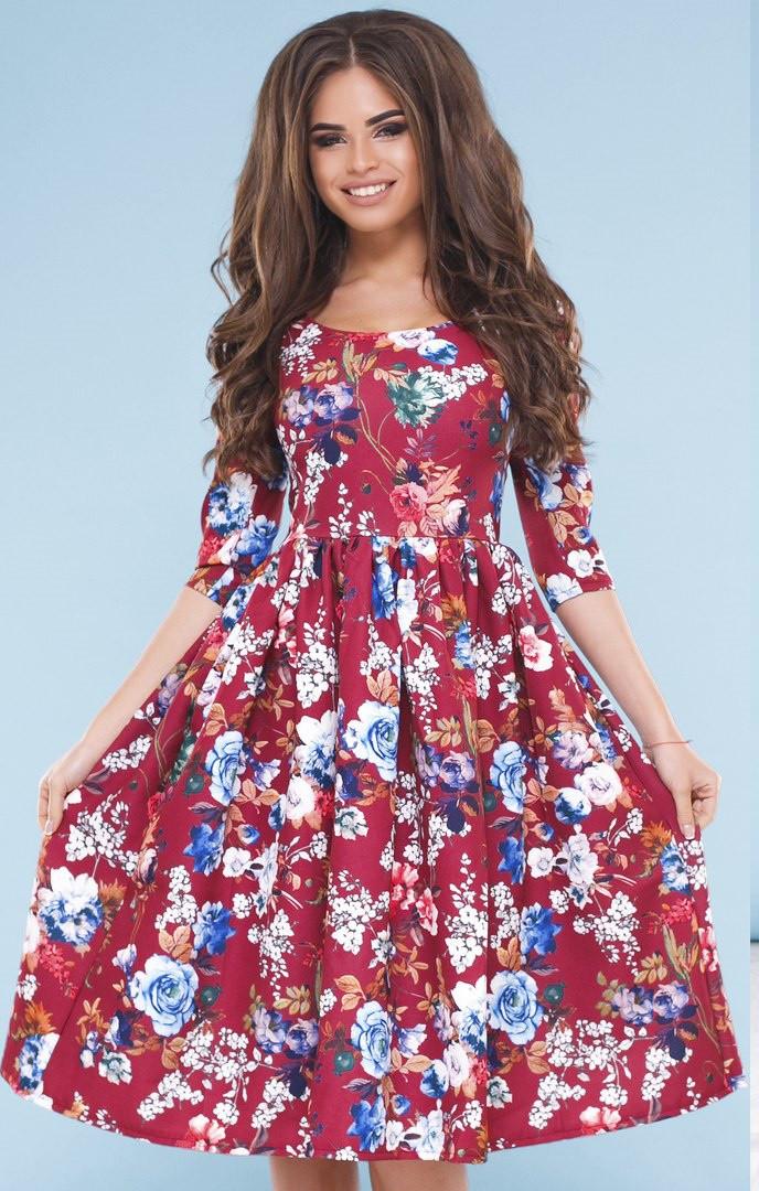 Т1115 Платье миди с цветочным принтом