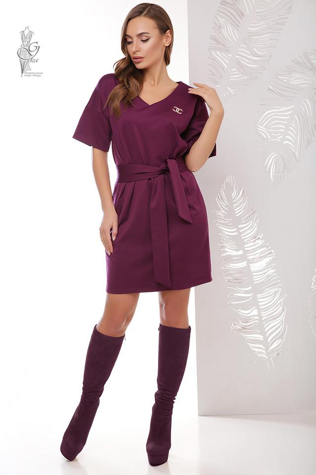 Бордовый цвет Трикотажного женского платья Шанель