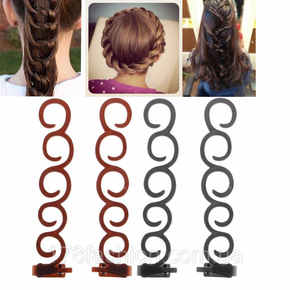 Набор заколок Braided hair для плетения французской косы с зажимом, коричневые