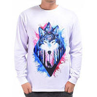 Mr.1991INC Miss.GO ST1006 Мужская футболка с трехмерной печатью Wolf - Белый