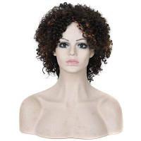 Среднее разделение Пушистый африканский короткий вьющийся синтетический парик Цветной