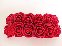 Декоративные розы из латекса 12 шт., d 2 см на ножке, бордо (марсала), фото 1