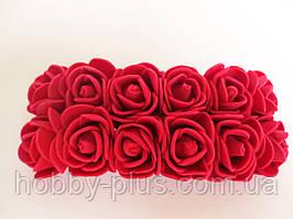 Декоративные розы из латекса 12 шт., d 2 см на ножке, бордо (марсала)