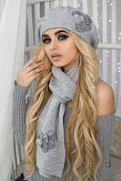 Комплект Камилла 5055-10 берет и шарф светло-серый