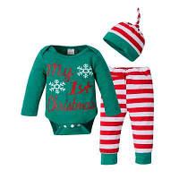 Новорожденный ребенок мальчики девочки Рождество одежда комбинезон топы брюки шляпа 3шт наряды АУ 90