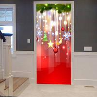 Рождественские Украшения Висит Картина Дверь Наклейки 38,5 * 200CM * 2шт