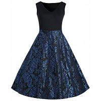 Плюс Размер Пейсли Миди 1950-х годов Vintage Dress XL