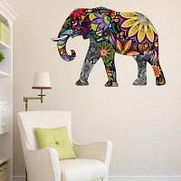 Цветочный орнамент слона Водонепроницаемый декоративный наклейщик стены 850 * 570мм