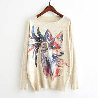 Новые поступления Осенние зимние женские моды Crewneck Batwing Sleeve Colorful Wolf Print Вязаные свитера Loose Knitwear Пуловеры Топы Верхняя одежда