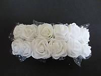 Декоративные розы из латекса 12 шт., d 2 см на ножке, белого цвета с фатином, фото 1