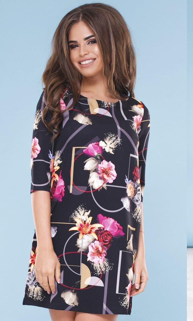 72fe486772e Т1116 Платье трапеция с цветочным принтом - Оптово-розничный  интернет-магазин