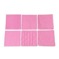 Вязание силиконовой формы текстуры Мат Sugarcraft Торт Граничное оформление Cupcake Topper Полимерная глина Gumpaste Mold 6Pcs / Set Розовый