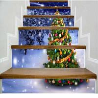 Красочная новогодняя елка в ночной сцене Белоснежка Лестница наклейка 100 x 108 см