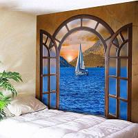 Окно Пейзаж Парусник в море Печать Wall Art Tapestry ширина59дюймов*длина51дюйм