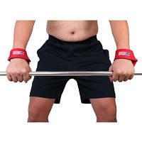 2шт Страховочные ремешки поддержки на запястье для понятия штанги в тяжелой атлетике Красный