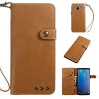 Держатель для карточки Wallet Flip Full Body Solid Color Hard PU Кожаный чехол для Samsung Galaxy S8 Хаки