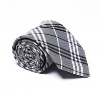 9461312a3593 Модные мужские аксессуары Деловая галстука Полосатая решетка Формальная  удобная пледовая галстук Серый