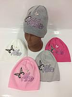 Детские вязаные шапки для девочек, р.44-46, Ambra (Польша)