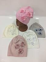 Детские вязаные шапки для девочек, р.46-48, Ambra (Польша)