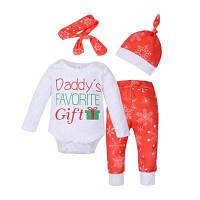Новорожденный ребенок мальчики девочки Рождество одежда комбинезон топы+брюки+шляпа+оголовье 4шт наряды АУ 90