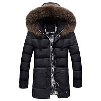 Зимняя одежда Мужская меховая ошейника Хлопчатобумажная одежда Модный и повседневный Чистый цвет Длинный стиль Теплый хлопок Пальто 2XL