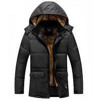 Зимняя одежда Мужская мода и отдых с толстой теплой и с капюшоном курткой XL