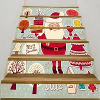 Санта-Клаус Подарки Деревья Шаблон Наклейки Лестницы 6шт: 39 * 7 дюймов (без рамки)