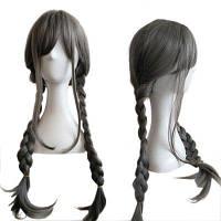Женские двойные косы с длинным париком Прямые аксессуары для волос Серый