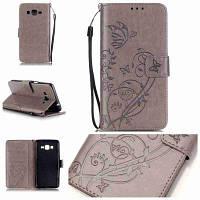 Одиночный тиснение-Бабочка Цветочный PU телефон Чехол для Samsung Galaxy Grand Prime G530 Серый