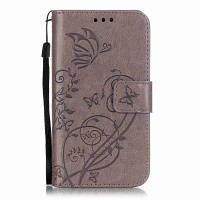 Одиночный тиснение-Бабочка Цветочный PU телефон Чехол для Samsung Galaxy Core Prime G530 Серый