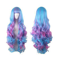 Женский градиент Красочный косплей длинный парик Разноцветный