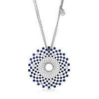 Новый продукт Рекомендуем Оригинальный дизайн Синий циркон Родий покрытием свитера ожерелья серебристый+синий