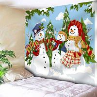 Настенный Семейный Рождественский Снеговик Печать Гобелен ширина59дюймов*длина51дюйм