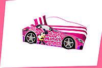 Кровать машина с матрасом Мини Маус розовый