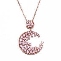 Оригинальный дизайн Розовый циркон Инкрустированный росписью Розовый золотой свитер Цепь ожерелья Розовый золотой