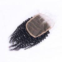 Виргинские бразильские человеческие волосы Kinky Curly Women Hairpiece Closure Средняя часть Швейцарские кружевные затворы Естественный черный цвет