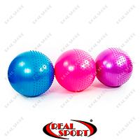 Мяч для фитнеса (фитбол) полумассажный 2в1 65см Zelart FI-4437-65 (PVC, 1100г, цвета в ассорт, ABS)