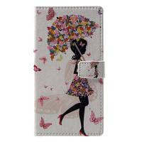 Цветочная девушка Pattern Flip Кожаный кошелек Стенд для телефона iPhone 4 Белый