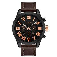 CUENA 6628P Мужская мода кожаный ремешок для часов Кварцевые наручные часы Коричневый