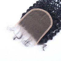 4x4 Inches Virgin Brazilian Human Hair Швейцарский кружевной кудрявый кудрявый затвор Естественный цвет 8 дюймов