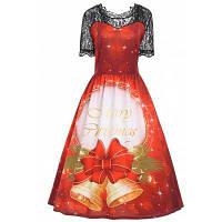 Большой Размер Винтажное Платье С Кружевом И Принтом Рождественских Элементов XL