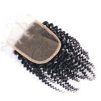 100% человеческие волосы Virgin Brazilian Kinky Curly Closures with Baby Hair 4x4 «Natural Black Middle Part Afro Curl Швейцарский кружевной затвор 16